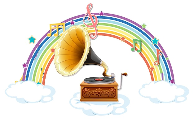 Grammophon mit melodiesymbolen auf regenbogen