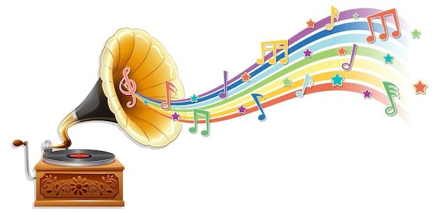Grammophon mit melodiesymbolen auf regenbogenwelle