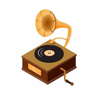 Grammophon mit schallplatte, klassisches audio-musik-player-gerät der holzkiste in der flachen illustration des isometrischen cartoons