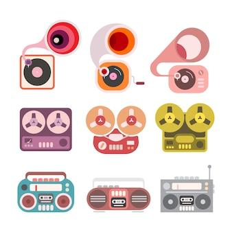Grammophon und kassettenrekorder