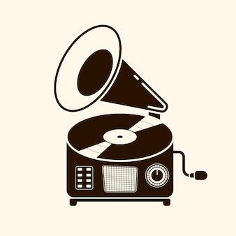 Grammophon-vinyl-schallplatte mit etikett. musiksammlung. alte technik, retro-sounddesign. vektor-illustration