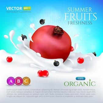 Granatapfel fällt in milch oder joghurt mit spritzern und johannisbeeren. hochwertige realistische vektorgrafik für cocktailetikettenverpackungen