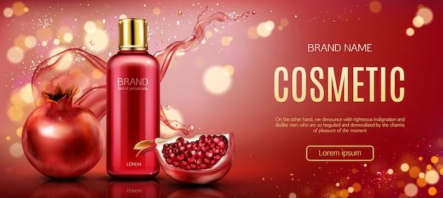 Granatapfel kosmetische flasche banner