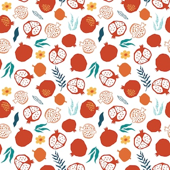 Granatapfel nahtlose muster mit blättern, blume. blumenvektorillustration des abstrakten gekritzels und der skandinavischen früchte. granat-armenisches muster. das elegante die vorlage für modedrucke.
