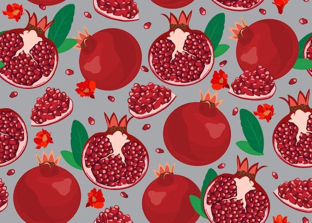Granatapfel trägt nahtloses muster früchte