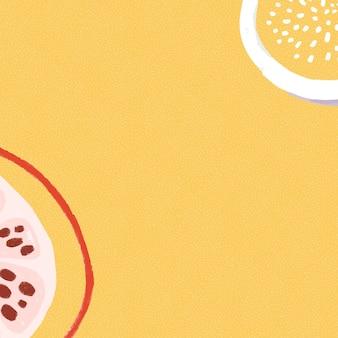 Granatapfelfrucht auf einer gelben hintergrunddesignressource