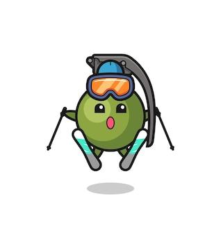 Granaten-maskottchen-charakter als skispieler, süßes stildesign für t-shirt, aufkleber, logo-element