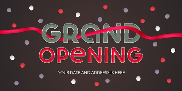Grand opening banne. schablone festliches design mit rotem band