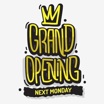 Grand opening lettering type design nachricht