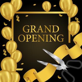 Grand opening-schablone mit goldballonen und goldenem band schneiden
