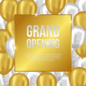 Grand opening vorlage mit gold und silber ballons