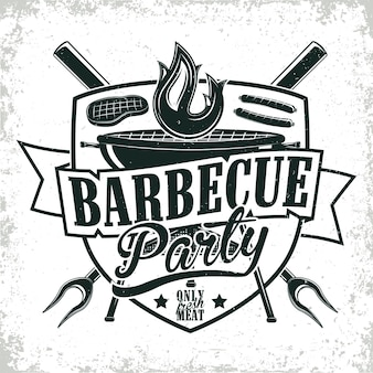 Grange print stempel, kreatives grill bar typografie emblem