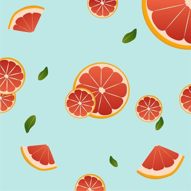 Grapefruit auf einem blauen hintergrund vektor-design-illustration