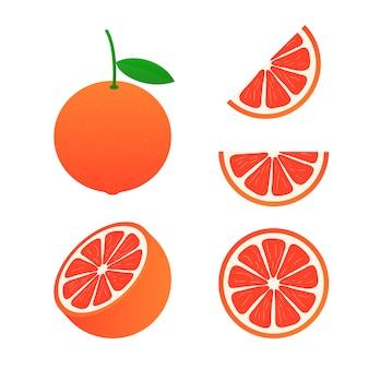Grapefruit. eine ganze grapefruit und ein schnitt