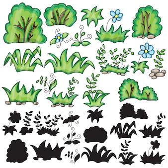 Gras und blumen cartoon und silhouetten auf weißem hintergrund