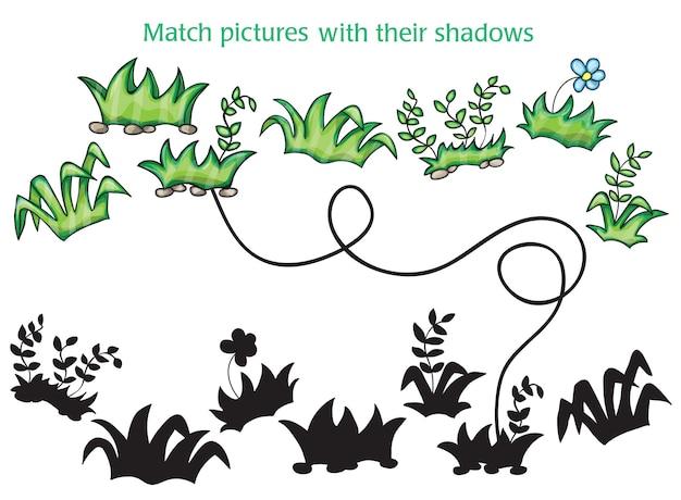 Gras- und blumenkarikatur auf weißem hintergrund - spiel für kinder