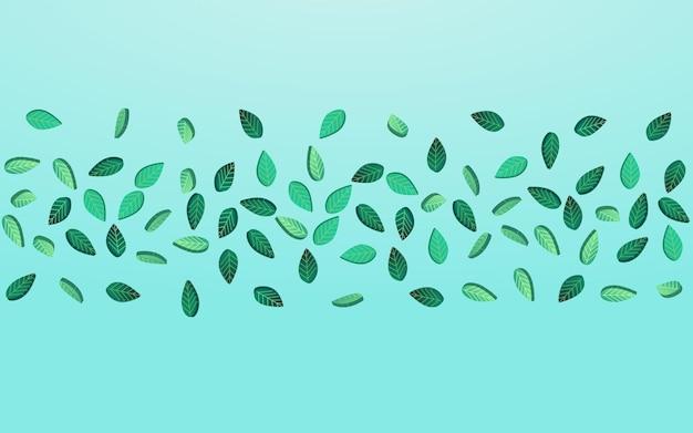 Grasartiges blatt-zusammenfassungs-vektor-blauer hintergrund-konzept. wind-laub-hintergrund. minzgrün-tee-vorlage. hinterlässt eine transparente pflanze.