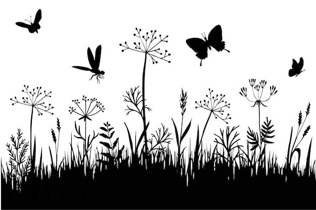 Grasgrenzen schwarze silhouette von grasspitzen und kräutern isoliert auf weißem hintergrund Premium Vektoren