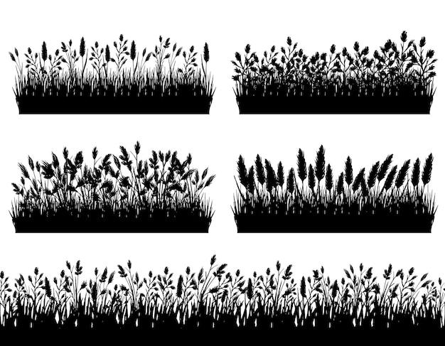 Grasgrenzen-silhouette auf weißem hintergrunddesign eingestellt Premium Vektoren