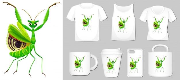 Grasshopper auf verschiedenen produktvorlagen
