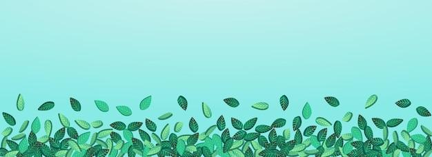 Grassy leaf tee vektor panorama blauer hintergrund wallpaper. unschärfe-laub-design. wald verlässt kräuterzweig. grüne fallende illustration.