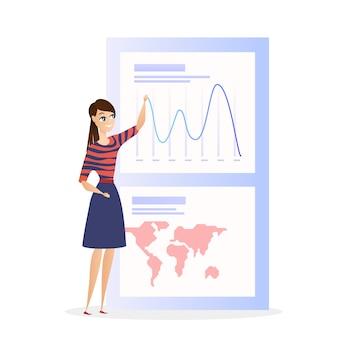 Grath-geschäftsfrau-charakter der globalen datenanalyse