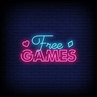 Gratis spiele neon signs style text vector