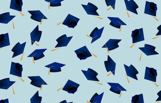 Gratulation absolventen. abschlusskappen. mützen hochgeworfen