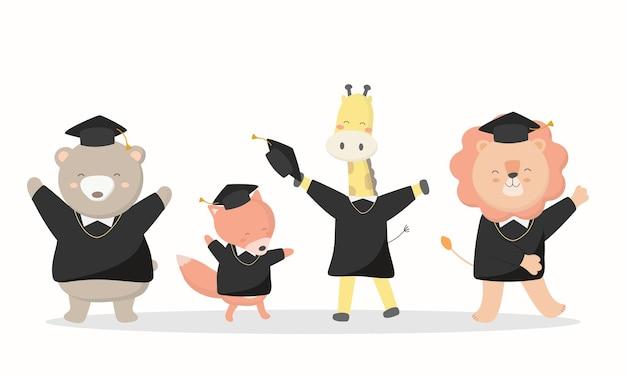 Gratulation zum abschlusstag. tierstudenten bär, fuchs, giraffe, löwe, tragen abschlusskleider und hüte am abschlusstag