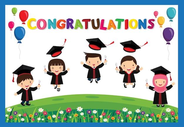 Gratulierte kinder graduate.happy schüler springen