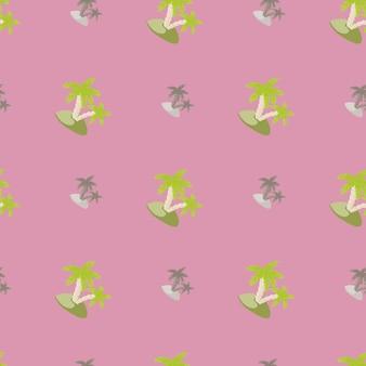 Grau und grün gefärbte insel und palmen drucken nahtloses muster. lila hintergrund. gekritzel abstrakte formen. entworfen für stoffdesign, textildruck, verpackung, abdeckung. vektor-illustration.