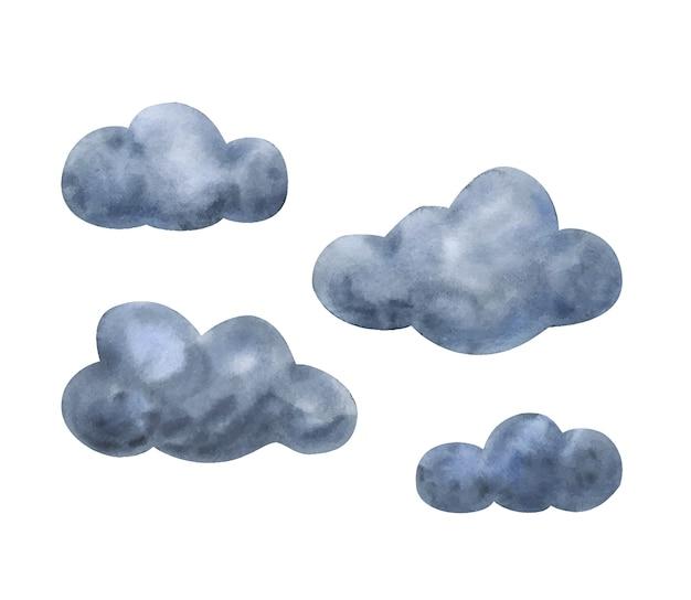 Graue aquarellwolken. satz illustrationen für das bild eines bewölkten himmels.