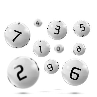 Graue bälle des vektorlotto-bingo mit zahlen