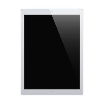 Graue farbe der tafel mit schwarzem touchscreen lokalisiert auf weißem hintergrund. realistisches und detailliertes gerät