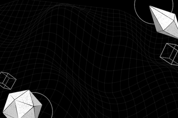Graue geometrische formen auf schwarzem hintergrund