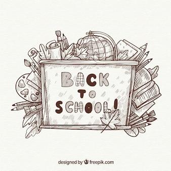 Graue Hand zurück zu Schule Hintergrund gezeichnet