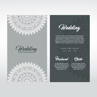 Graue hochzeitskarte mit mandala-design