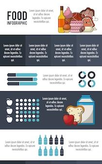 Graue infografik der nahrung und des lebensmittels