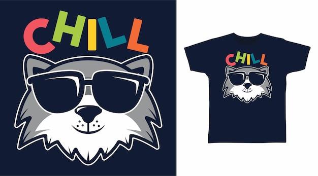 Graue katze chill mit brillen-t-shirt-design