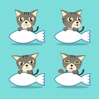 Graue Katze der getigerten Katze der Zeichentrickfilm-Figur mit großem Fischzeichen