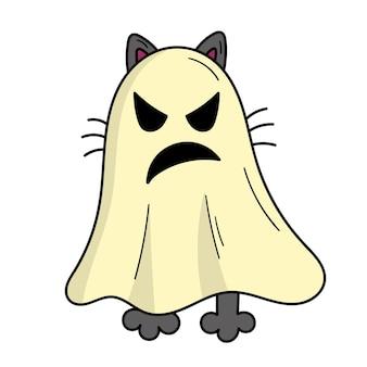 Graue katze in einem gruseligen geisterkostüm. halloweenkostüm. illustration im doodle-stil