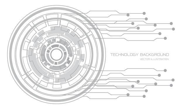 Graue kreis-cyber-schaltungslinie der abstrakten technologie auf moderner hintergrundillustration des weißen futuristischen entwurfs.