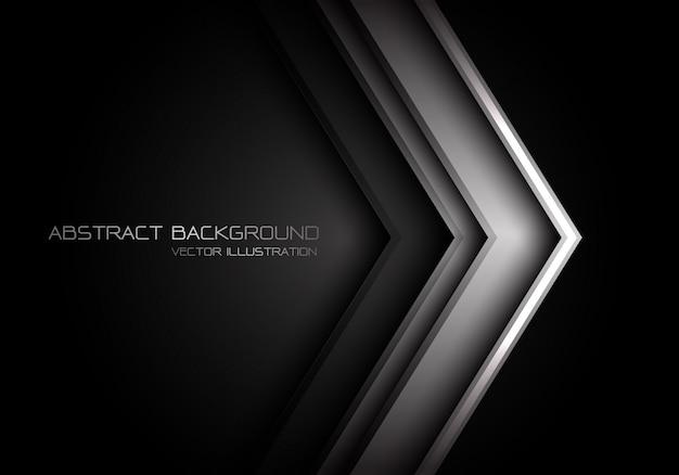 Graue metallische pfeilrichtung auf schwarzes mit texthintergrund.