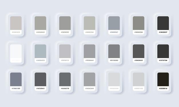 Graue pastellfarbenpalette. katalogmuster grau in rgb hex. farbkatalog. neumorphic ui ux weiße benutzeroberfläche web-schaltfläche. neumorphismus.