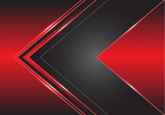 Graue pfeilrichtung auf roten metallischen hintergrund.