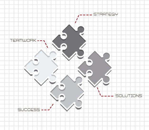 Graue puzzlespiele über papier notebook teamwork vektor-illustration