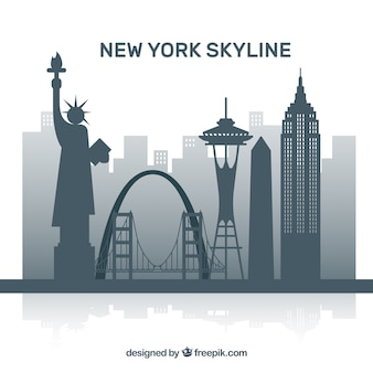 Graue skyline von new york