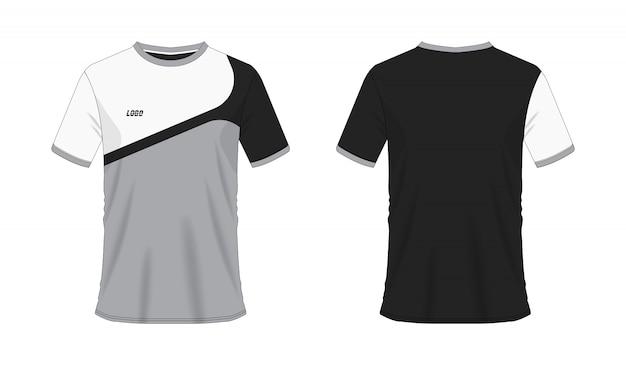 Graue und schwarze fußball- oder fußballschablone des t-shirts für mannschaftsverein auf weißem hintergrund. jersey sport,