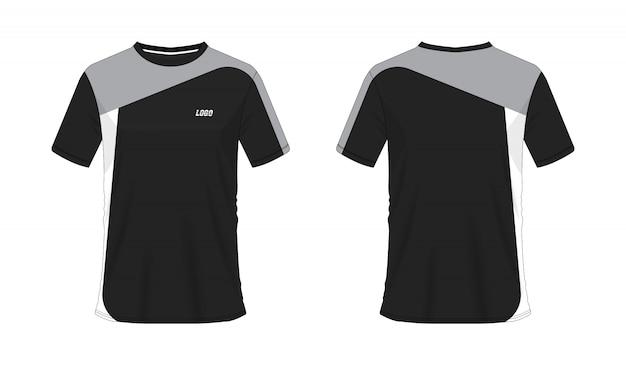 Graue und schwarze fußball- oder fußballschablone des t-shirts für mannschaftsverein auf weißem hintergrund. jersey sport