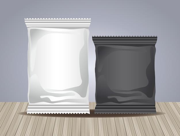 Graue und schwarze verpackungsbeutelproduktikonen